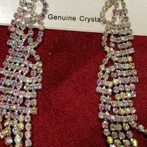 Blush genuine crystal hanging earrings
